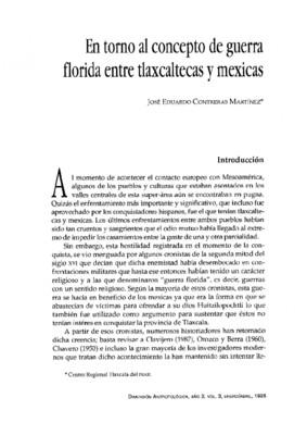 En torno al concepto de guerra florida entre tlaxcaltecas y mexicas