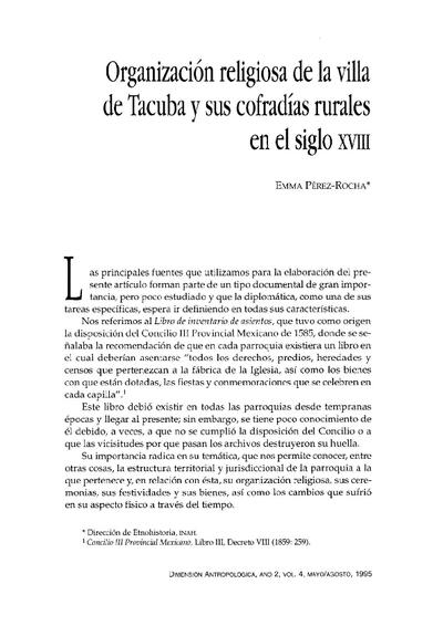 Organización religiosa de la villa de Tacuba y sus cofradías rurales en el siglo XVIII