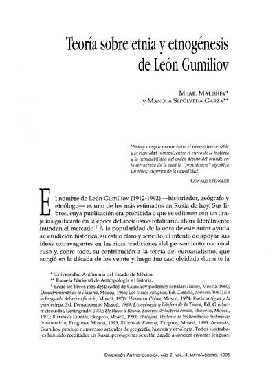 Teoría sobre etnia y etnogénesis de León Gumiliov