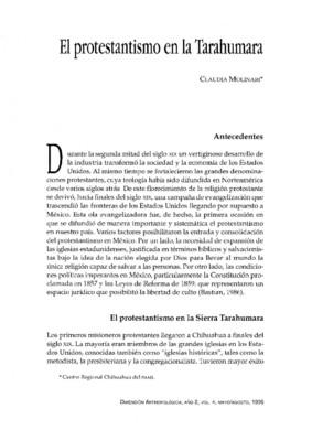 El protestantismo en la Tarahumara
