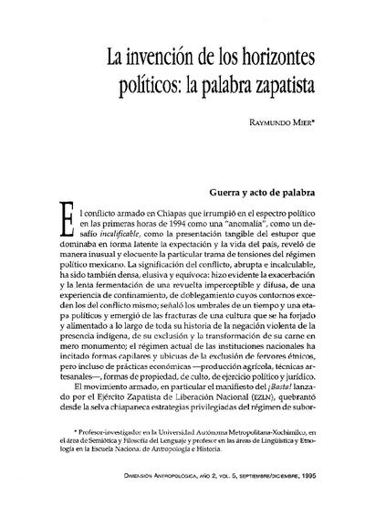 La invención de los horizontes políticos: la palabra zapatista