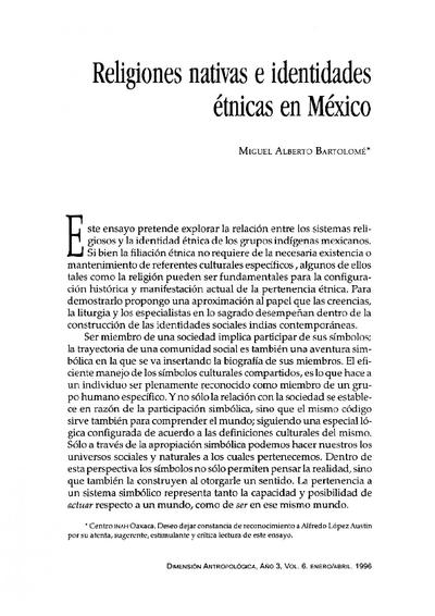 Religiones nativas e identidades étnicas en México