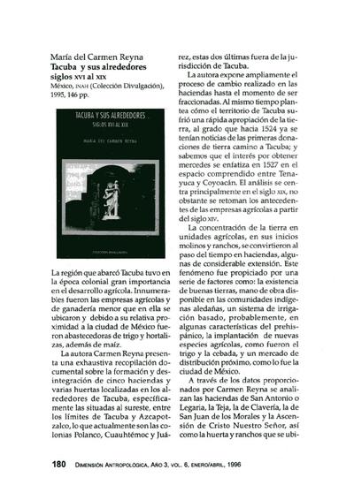 María del Carmen Reyna, Tacuba y sus alrededores siglos XVI al XIX, México, INAH (Colección Divulgación), 1995,146 pp.
