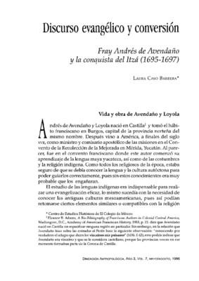 Discurso evangélico y conversión. Fray Andrés de Avendaño y la conquista del Itzá (1695-1697)