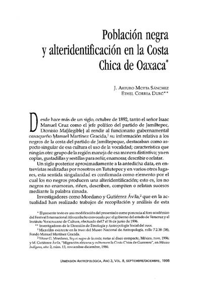 Población negra y alteridentificación en la Costa Chica de Oaxaca