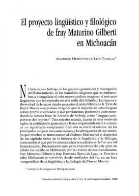 El proyecto lingüístico y filológico de fray Maturino Gilberti en Michoacán