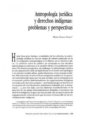 Antropología jurídica y derechos indígenas: problemas y perspectivas