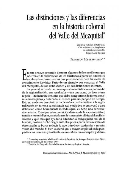 Las distinciones y las diferencias en la historia colonial del Valle del Mezquital