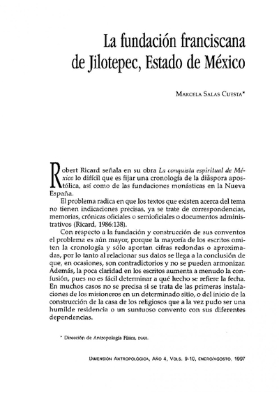 La fundación franciscana de Jilotepec, Estado de México