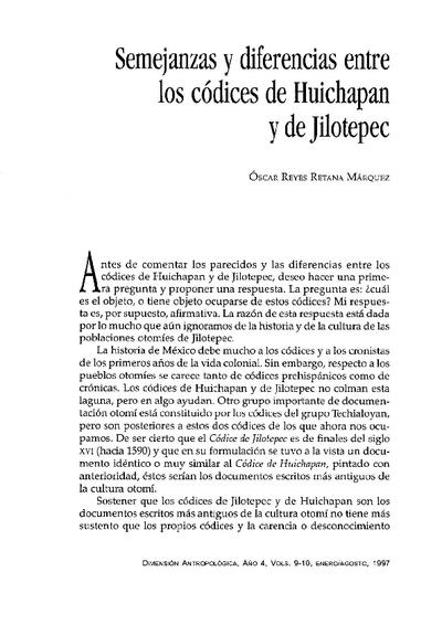 Semejanzas y diferencias entre los códices de Huichapan y de Jilotepec