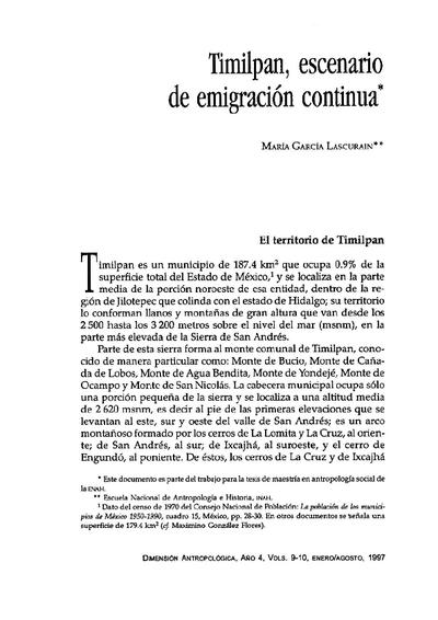 Timilpan, escenario de una emigración continua
