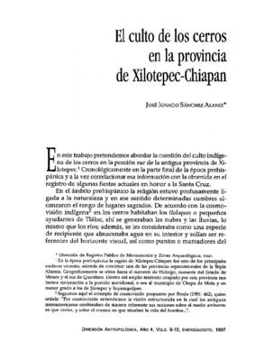 El culto de los cerros en la provincia de Xilotepec-Chiapan