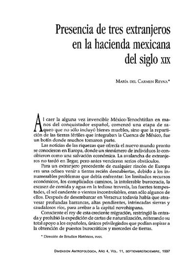 Presencia de tres extranjeros en la hacienda mexicana del siglo XIX