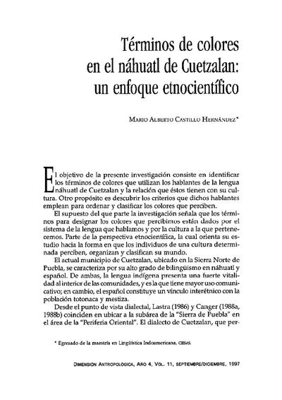 Términos de colores en el náhuatl de Cuetzalan: un enfoque etnocientífico