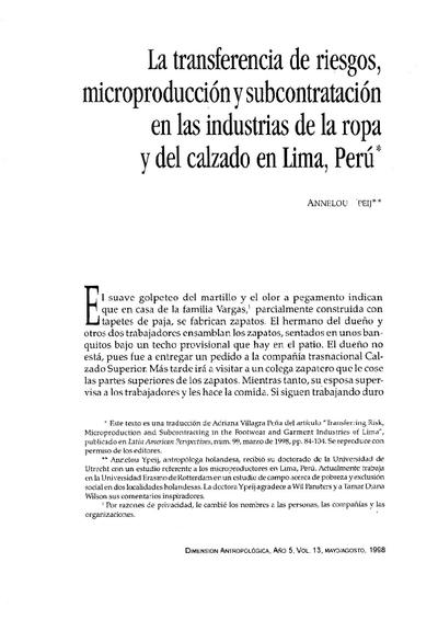 La transferencia de riesgos,  microproducción y la subcontratación en las industrias de la ropa y del calzado en Lima, Perú