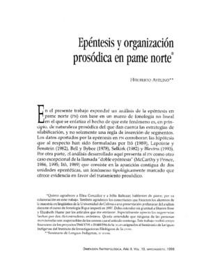 Epéntesis y organización prosódica en pame norte