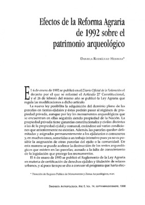 Efectos de la Reforma Agraria de 1992 sobre el patrimonio arqueológico