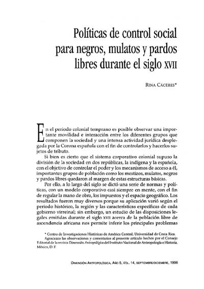 Políticas de control social para negros, mulatos y pardos libres durante el siglo XVII