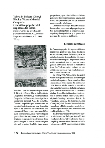 Velma B. Pickett, Cheryl Black y Vicente Marcial Cerqueda, Gramática Popular del Zapoteco del Istmo, México, Centro de Investigación y Desarrollo Binnizá, A.C./Instituto Lingüístico de Verano, A.C., 1998, 1998, 123 pp.