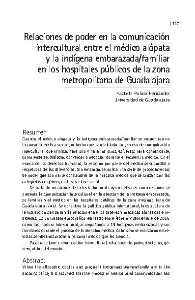 Relaciones de poder en la comunicación intercultural entre el médico alópata y la indígena embarazada/familiar en los hospitales públicos de la zona metropolitana de Guadalajara