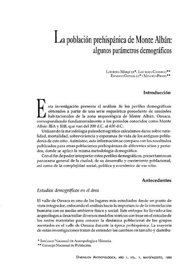 La población prehispánica de Monte Albán: algunos parámetros demográficos