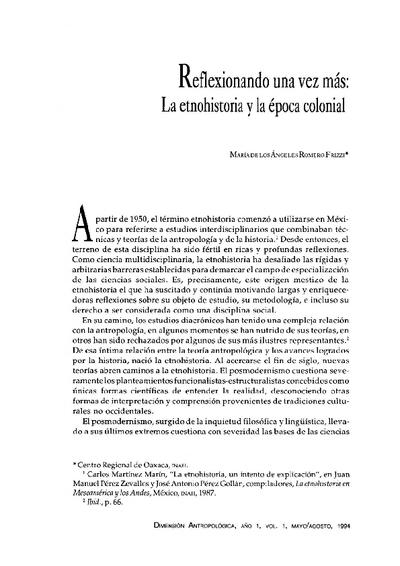 Reflexionando una vez más: La etnohistoria y la época colonial
