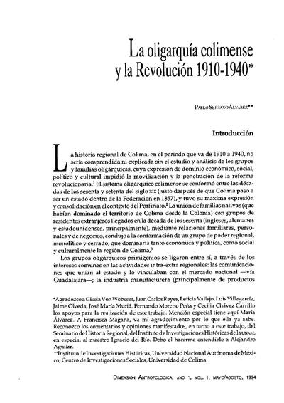 La oligarquía colimense y la Revolución 1910-1940