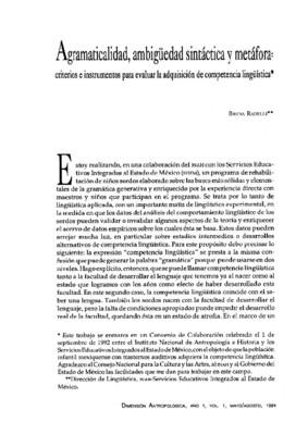 Agramaticalidad, ambigüedad sintáctica y metáfora: criterios e instrumentos para evaluar la adquisición de competencia lingüística