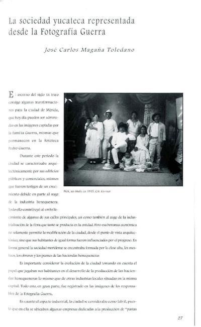 La sociedad yucateca representada desde la Fotografía Guerra