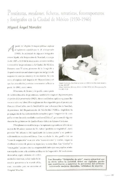 Prostitutas, mesdames, ficheras, retratistas, fotorreporteros y fotógrafos en la Ciudad de México (1930-1946)