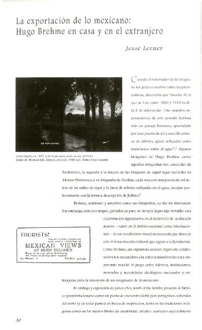 La exportación de lo mexicano: Hugo Brehme en casa y en el extrajero