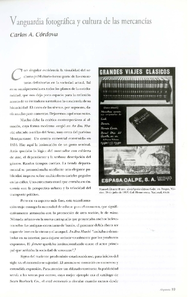 Vanguardia fotográfica y cultura de las mercancías