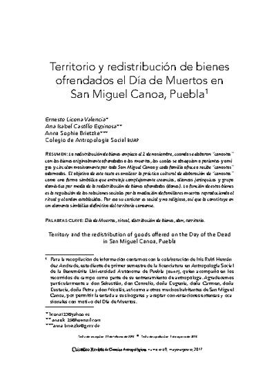 Territorio y redistribución de bienes ofrendados el Día de Muertos en San Miguel Canoa, Puebla