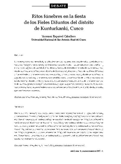 Ritos fúnebres: en la fiesta de los fieles difuntos en el distrito de Kunturkanki- Cusco