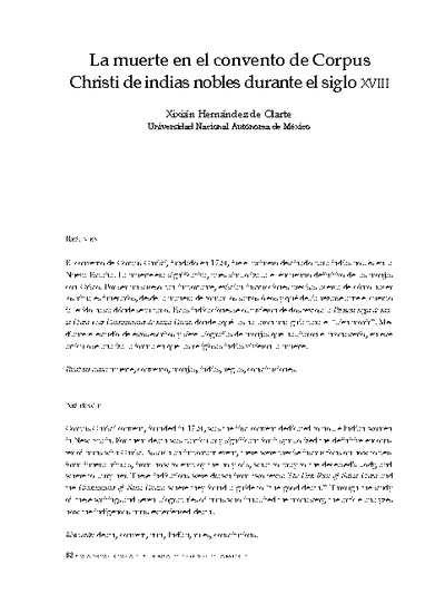 La muerte en el convento de Corpus Christi de indias nobles. Siglo XVIII