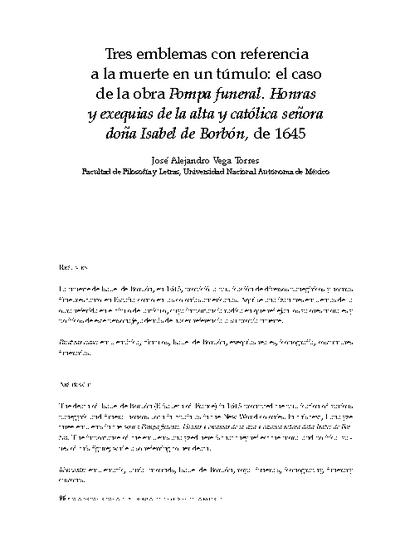 Tres emblemas con referencia a la muerte en un túmulo funerario. El caso de la obra titulada: Pompa Funeral: Honras y exequias de la alta y católica señora doña Isabel de Borbón, 1645