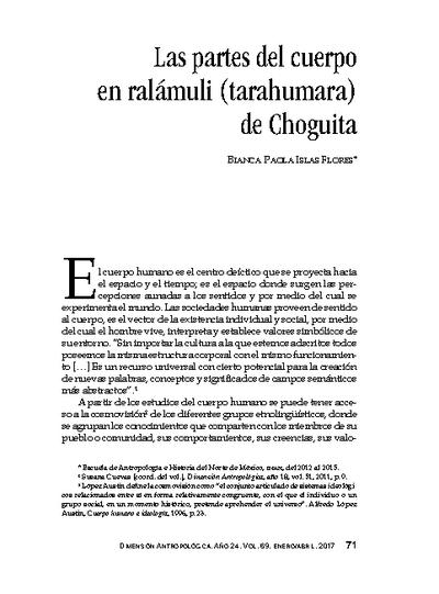 Las partes del cuerpo en ralámuli (tarahumara) de Choguita