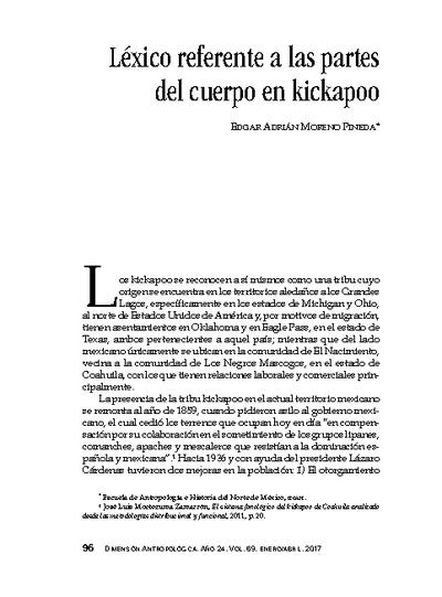Léxico referente a las partes del cuerpo en kickapoo