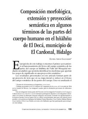 Composición morfológica, extensión y proyección semántica en algunos términos de las partes del cuerpo humano en el hñähñu de El Decá, municipio de El Cardonal, Hidalgo