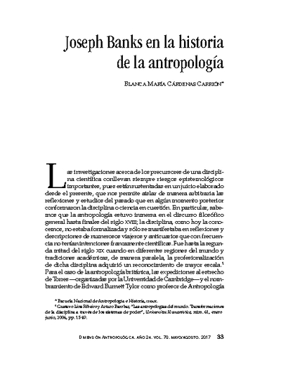 Joseph Banks en la historia de la antropología