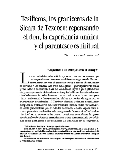 Tesifteros, los graniceros de la Sierra de Texcoco: repensando el don, la experiencia onírica y el parentesco espiritual
