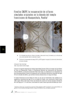 Finaliza CNCPC la recuperación de sillares simulados originales en la bóveda del templo franciscano de Huaquechula, Puebla