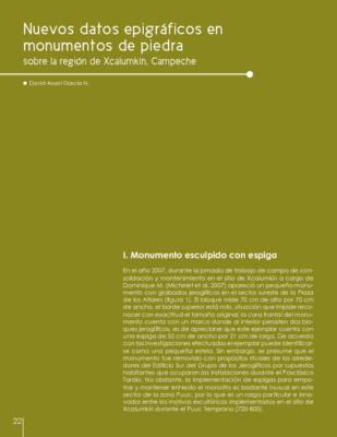 Nuevos datos epigráficos en monumentos de piedra sobre la región de Xcalumkín, Campeche
