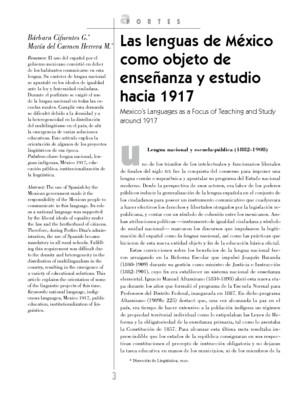 Las lenguas de México como objeto de enseñanza y estudio hacia 1917