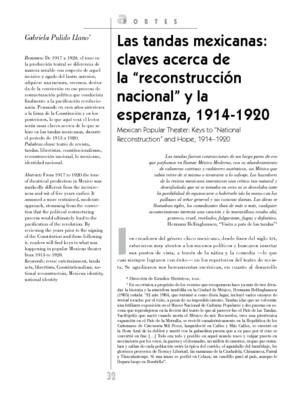 """Las tandas mexicanas: claves acerca de la """"reconstrucción nacional"""" y la esperanza, 1914-1920"""