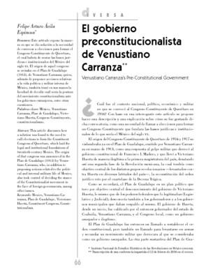 El gobierno preconstitucionalista de Venustiano Carranza
