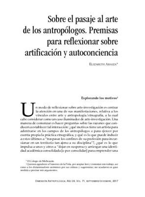 Sobre el pasaje al arte de los antropólogos. Premisas para reflexionar sobre artificación y autoconciencia