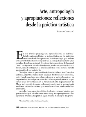 Arte, antropología y apropiaciones: reflexiones desde la práctica artística