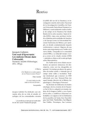 Jacques Galinier, Une nuit d'épouvante. Les indiens Otomi dans l'obscurité, Nanterre, Société d'Ethnologie, 2011, 129 pp.