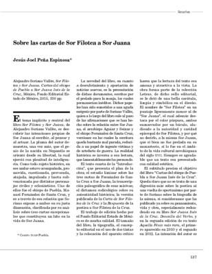 Sobre las cartas de Sor Filotea a Sor Juana
